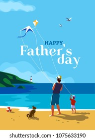 Happy father and son enjoy kiting on sea beach. Father's day poster. Family leisure fun activity on sand seashore. Colorful cartoon. Dad and kid boy together. Vector ocean seascape scenic background