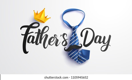 Happy Father's Calligraphy greeting card with necktie for dad. Greetings and presents. Vector illustration EPS10