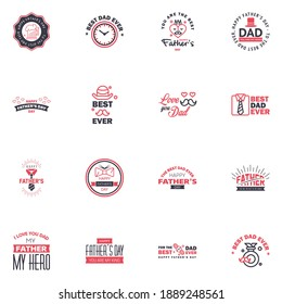 Happy fathers day 16 Black and Pink vintage retro type font. Illustrator eps10 Editable Vector Design Elements