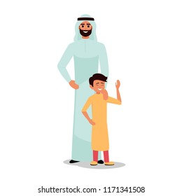 Happy Father's Day. Arabic family Dad with his son standing.the parent put his hand on his son's shoulder. Tenderness and care