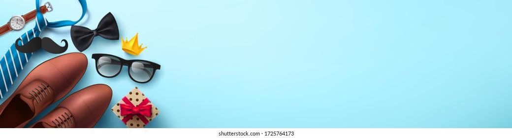 Happy Vatertag Hintergrund mit Krawatte, Brille und Geschenkbox für Papa auf hellblau.Grüße und Geschenke für Vatertag in flachem Lay-Stil.Promotion und Shopping-Vorlage für das Liebesdad Konzept