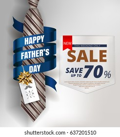 Happy Father's Day background template with man brown tie and white shirt with gold bow and blue ribbon for promotion banner, ads, flyers, invitation, posters, brochure, discount, sale offers. Vector - Shutterstock ID 637201510
