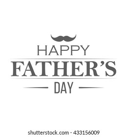 Happy fathers day badge on white background. Label for celebration card. Monochrome vector illustration.