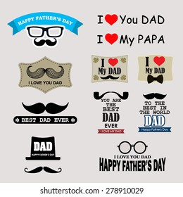 Happy Father's Day Badges and Labels Set / Happy Father's Day Greeting Card / I Love My DAD