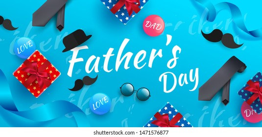 Happy Father's Day Banner or Background.Gift boxes, Ribbon, Round glasses, Mustache and colorful elements on blue background. Creative and Modern design for Father's day in EPS10 vector illustration.