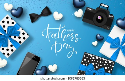 Happy Father's day banner design with lettering,gifts boxes,camera, phone, bow tie and hearts.Vector illustration
