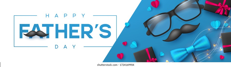 Happy Fathers Day banner with glasses, bow tie, mustache, gift box and hearts. Realistic style decorative elements with greeting text. Vector promotional template.