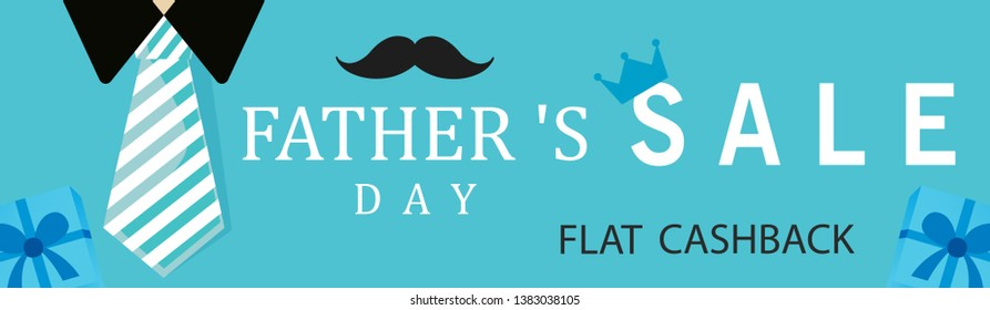 Happy Father's Day Banner, Vector Illustration.
