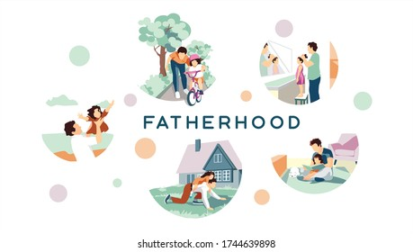 Happy fathers day. The best dad in the world. A gift for father. Different stages of fatherhood set. He teaches his children to read, ride a bicycle, plays different games with his daughter. Vector