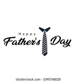 Happy Father's Day Black Necktie White Background Vector Image