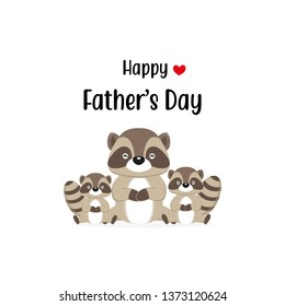 Happy Father's Day card with cute Raccoon characters. Vector illustration in cartoon style.