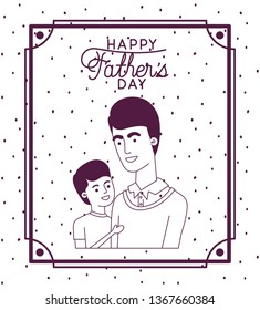 happy fathers day card with dad and son characters