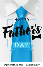 Happy fathers day card with dark teal necktie and black bow. Happy Father's Day text on white shirt background for web banner. Dad my king illustration