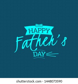 Happy Father's Day Card. Dark blue background with details in light blue. Lettering.