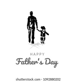 Happy fathers day card design. Template of flyer, banner or poster, silhouette of a father holding his child hand.