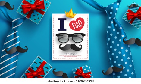 Happy Father's Day card with necktie,glasses and gift box for dad on blue background.Greetings and presents for Father's Day.Vector illustration EPS10