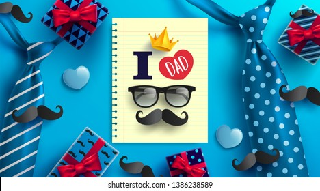 Happy Father's Day card with necktie,glasses and gift box for dad on blue.Promotion and shopping template for Father's Day.Vector illustration EPS10