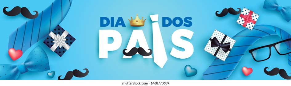 Happy Father's Day card in portuguese words with necktie,glasses and gift box for dad on blue.Promotion and shopping template for Father's Day.Vector illustration EPS10 - Vetorial