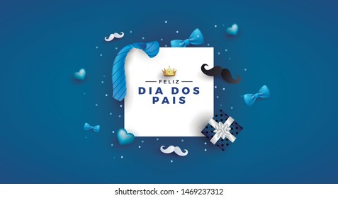 Happy Father's Day card in portuguese words with necktie and gift box for dad on blue.Promotion and shopping template for Father's Day.Vector illustration EPS10 - Vetorial