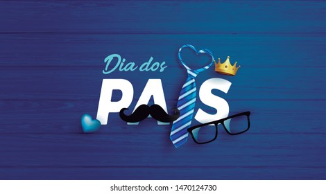Happy Father's Day card in portuguese words with necktie,glasses and moustache on blue.Promotion and shopping template for Father's Day.Vector illustration EPS10 - Vetorial