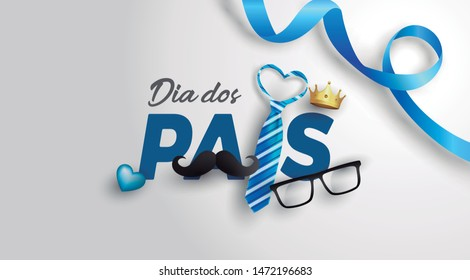 Happy Father's Day card in portuguese words with necktie,glasses and moustache on white.Promotion and shopping template for Father's Day.Vector illustration EPS10 - Vetorial