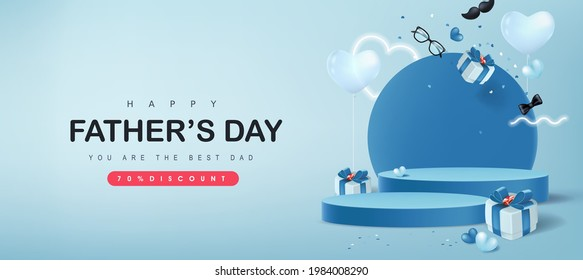 Happy Father's Day card with product display cylindrical shape and gift box for dad on blue background