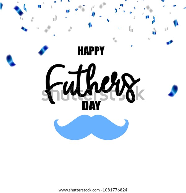 Happy fathers day Celebration background template with confetti blue ribbons.