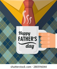 Happy father's day , a coffee cup congratulation. Best dad postcard.