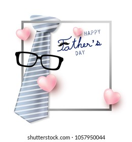 Happy father's day concept design of necktie and glasses with mustache vector illustration