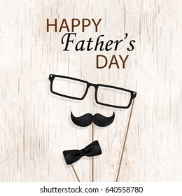 Happy Fathers Day concept. Design with bow tie, mustache, black glasses on  wooden background. Template for greeting card, Banner, flyer, invitation, congratulation, poster design. Vector illustration