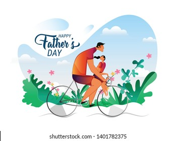 Happy Fathers Day concept with father and son riding cycles on morning and cloud background.Vector illustration in cartoon style - Vector