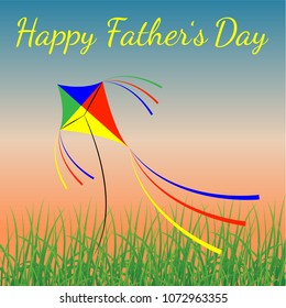 Happy Fathers Day. Concept of holiday. Evening sky, grass, kite flying. Template for greeting card, Banner, flyer, invitation, congratulation, poster design. Vector illustration