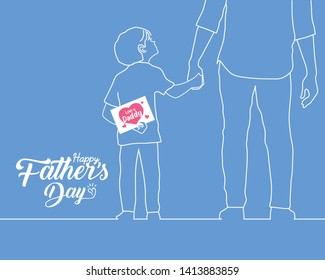 """Happy Father's Day copy space. Hand drawn cartoon son holding father's hand with a card written text """"Love you daddy"""" in white line art style isolated on plain blue background."""