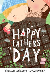 Happy father's day! Cute vector family illustration for a festive poster, postcard or banner. Hand-drawn funny drawing of a hugging dad and baby son.
