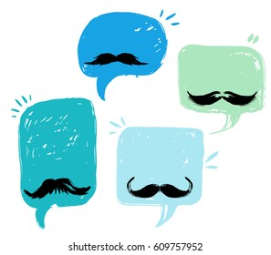 Happy Father's Day. DAD greeting cards, fashion posters set. Vector quote with speech bubble background. Fathers day typography poster with mustache, stars. - stock vector