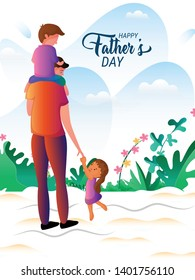 Happy Father's Day. Dad with his son and daughter hanging on his arms.Greeting card,banner or poster for Father's Day.Vector illustration in cartoon style - Vector