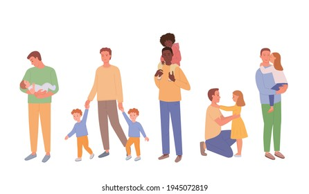 Happy Father's Day. Dad, son and daughter are together and happy. A set of parent and child characters, full-length figures isolated on white. Cute vector illustration in flat style