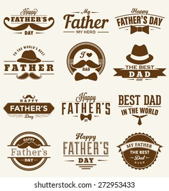 Happy Father's Day Design Collection - A set of twelve brown colored vintage style Father's Day Designs on light background