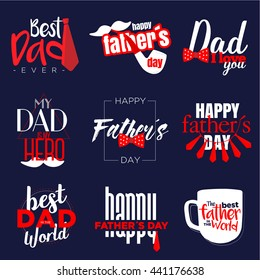 Happy Father's Day Design Collection. A set of nine red and blue colored modern style.
