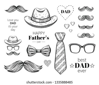 Happy Father's day elements set. Hand drawn old sketch graphic, black line art. Butterfly tie, retro fedora hat, mustaches. Trendy vintage icon collection isolated on white background with slogan text