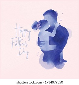 Happy father's day. Happy family daughter hugging dad silhouette plus abstract watercolor painted.Double exposure illustration. Digital art painting. Vector illustration.