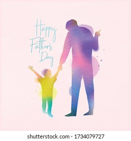 Happy father's day. Happy family son holding dad's hand silhouette plus abstract watercolor painted. Double exposure illustration. Digital art painting. Vector illustration.