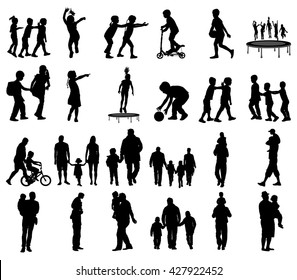 Happy fathers day. Father with children vector silhouette illustration. Young father spend time with his son, father carrying his son on his shoulders. Young man and boy in walk. Girl and father.