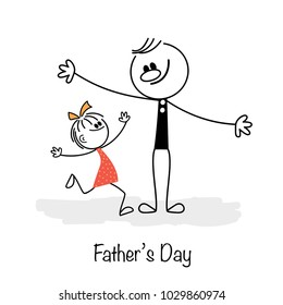 Happy Fathers Day. Father and daughter.  Vector illustration.
