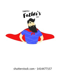 Happy Father's Day. Father with red cape isolated on white background. Superhero father flat style vector illustration