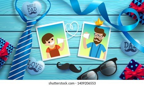 Happy Father's Day flat lay style with photo of dad and boy, necktie, glasses and gift box on blue wood table. Promotion and shopping template for Father's Day. Vector illustration EPS10