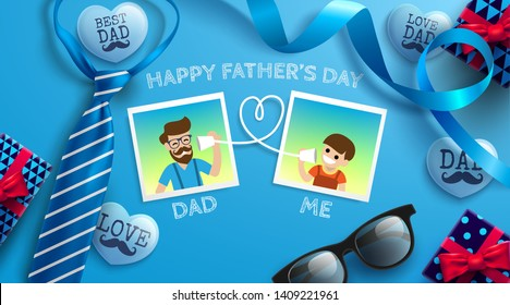 Happy Father's Day flat lay style with frame of dad photo and boy, necktie,glasses and gift box on blue background.Promotion and shopping template for Father's Day.Vector illustration EPS10