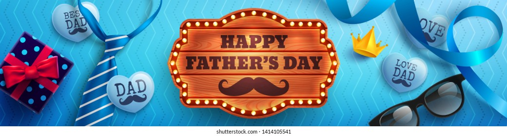 Happy Father's Day flat lay style with wood banner,blue necktie,glasses and gift box for dad on blue background.Promotion and shopping template for Father's Day.Vector illustration EPS10