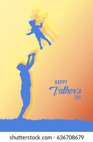 Happy Father's Day flyer, banner or poster. Silhouette of a father throws his daughter.