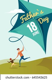 Happy Fathers Day flyer, banner or poster. Happy family father and son flying kite and having fun in summer. Vector illustration